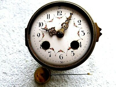 Antique French Brass 8 Day Striking Pendulum Mantel Clock Movement Mechanism