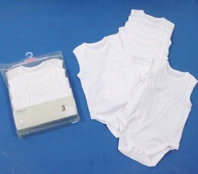 Ex John Lewis Baby Boy Girl  White 5 Pack Sleeveless Bodysuit Vests 9 12 18 24
