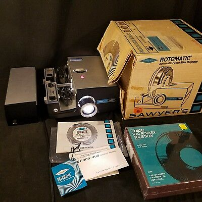 Sawyer Rotomatic Slide Projector 747AQZ - Zoom Lens - Auto Focus - Cycle Timer !