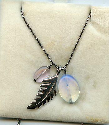 Sterling Silver Feather & Stone  Pendant with Silver Chain
