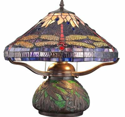 Small Lamp For Bedroom Tiffany Style Table 2-Light Stained Art Glass Dragonfly