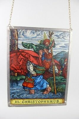 vintage Stained glass window panel , holy CHRISTOPHERUS