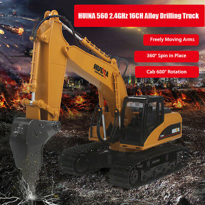 HUINA 560 1:14 2.4GHz 16CH RC Drilling Truck RTR with Arms Auto Demonstration