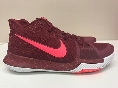 """Mens Nike Kyrie 3 III """"Warning"""" Hot Punch Sneakers New, Crimson Red 852395-681"""