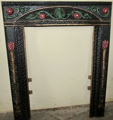 Fireplace Surround Ornate Cast Iron Antique Victorian Decor Restored No. 100   2