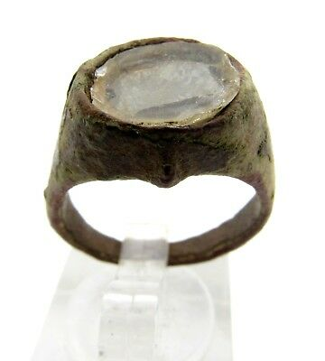 Medieval Bronze Ring W/ Glass Gem/stone In Beze -Ancient Wearable Artifact- Q847
