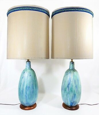 Pair Modernist Glazed Turquoise Ceramic Table Lamps, W/walnut Bases, Orig Shades
