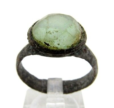 Medieval Bronze Ring W/ Glass Gem/stone In Beze -Ancient Wearable Artifact- Q848