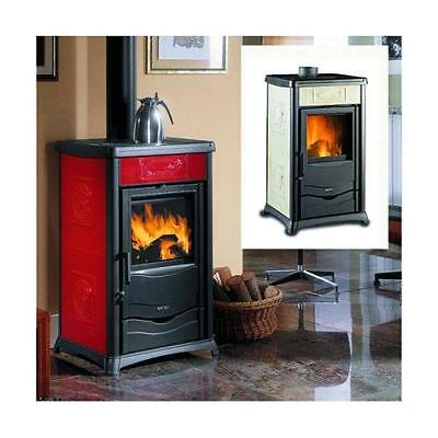 NORDICA TERMOSTUFA A LEGNA 'TERMOROSSELLA PLUS EVO DSA'  Colore bordeaux 13,5 Kw