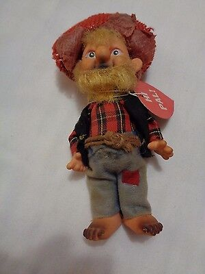 """Collectible Vintage 8"""" Doll Hillbilly MAN Straw Hat Rope Belt"""