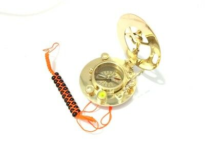 """3"""" Maritime Solid Antique Brass Sundial Compass With Bracelet A3"""
