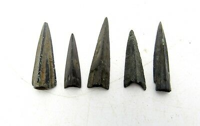Lot Of 5 Ancient Bronze Arrow Heads - Ancient Historical Artifacts - Q868