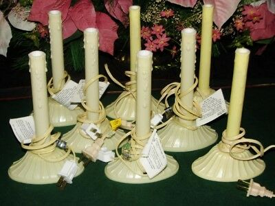 "Vintage Ivory Plastic Candlesticks Holders Lot of 8 Electric 8"" Christmas Window"