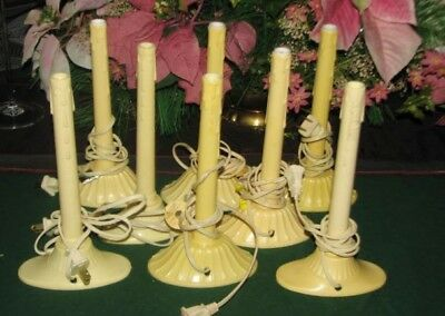 "Vintage Ivory Plastic Candlesticks Holders Lot of 8 Electric 9"" Christmas Window"