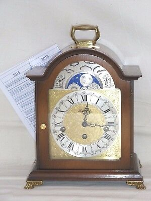 Hermle London Clock Co Walnut Westminster Chime + Moonphase Mantle Bracket Clock