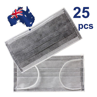 25pcs Disposable Bamboo Charcoal Activated Carbon 4lyrs Earloop Face Masks(OZ)