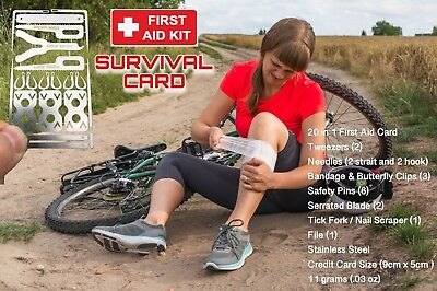 x First Aid Medical SURVIVAL Card Multi Tool Credit Card Size