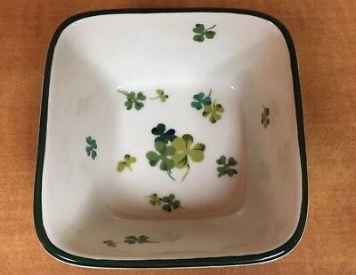 Longaberger Pottery Lucky Twist Dish green & white with shamrocks clover