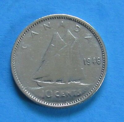 1946 10C Canada 10 Cents - 80% Silver - Blue Nose Sailing - George VI