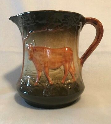 Rare Early Roseville Utility Stoneware Cow Milk Pitcher Pre 1916 (DARK COLOR)