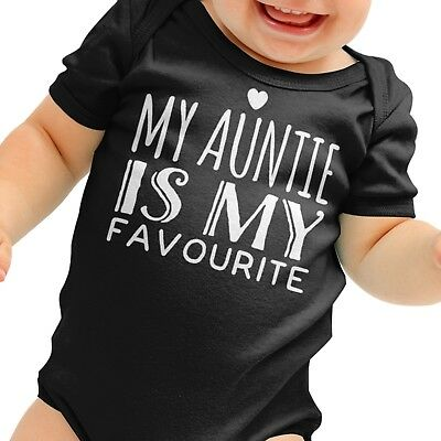 My Auntie Is Favourite Baby Grow Aunt Romper Suit Gift Funny Boys Shower B58