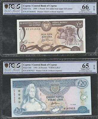 Y19 Cyprus P53c and P56b PCGS highly graded notes!