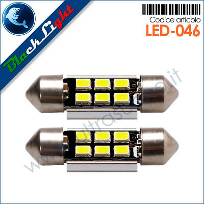Coppia lampade LED BlackLight Serie Power Siluro Festoon 31mm Can-BUS
