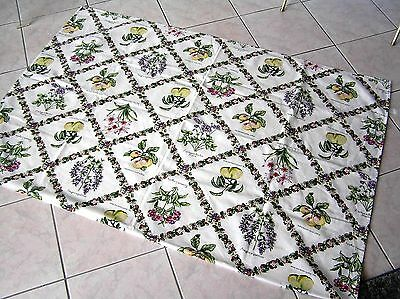 "Vintage Cotton Tablecloth Fruits & Flowers Names 74"" X 57"" Multi Color Gorgeous"