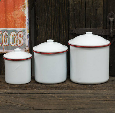 Country Farmhouse Enamelware Red Rimmed Canister Set Rustic French Primitive