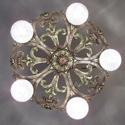 666 Vintage 20s 30s Ceiling Light lamp fixture art nouveau polychrome chandelier