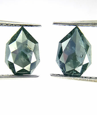 2.20TCW Antique Pear shape Rose cut Blue color Natural Matching Diamond Pair