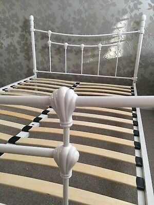 Antique French Metal Bed Frame Victorian Style White 4ft Double Size Vintage