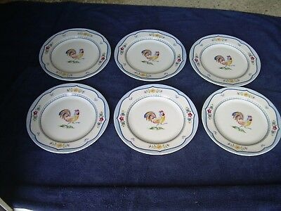 """Set 6 Coventry Genevievie Fine Porcelain 8 1/4"""" Plate - Floral & Rooster Mint"""