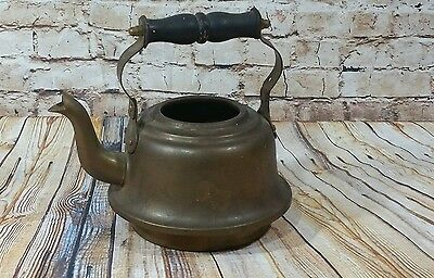 Solid Brass Teapot Tea Kettle Wooden Handle Made in India Vintage