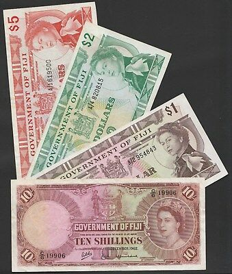 Y26 Fiji collection of 4 Pick var. incl. VF P52c, AU P59 & VF P66a & 67b
