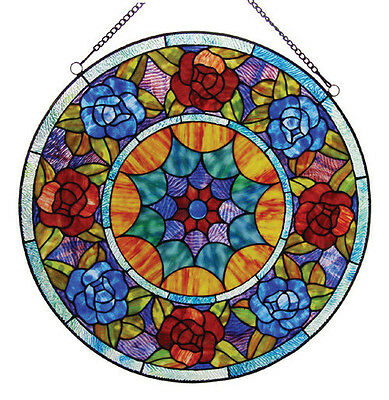 """PAIR  Tiffany Style Roses Stained Glass 22"""" Handcrafted Round Window Panels"""