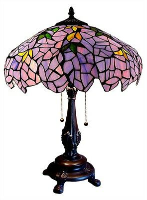 "Matching PAIR Tiffany Style Stained Glass Wisteria Grape Table Lamps 16"" Shade"