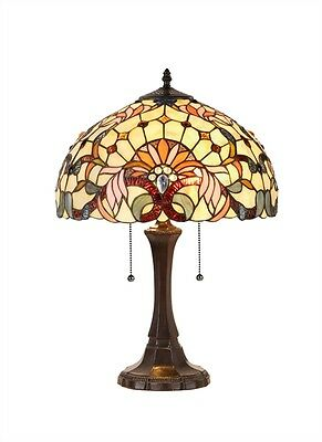 Matching PAIR Hand-crafted Victorian Tiffany Style Stained Glass Table Lamps