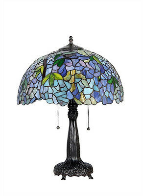 "Matching PAIR Tiffany Style Stained Glass Wisteria Table Lamps 22"" Tall"