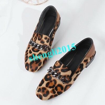 16699cd0d49 Womens Leopard Horsehair Pumps Slip on Loafers Casual Shoes Low Heel Metal  Chain