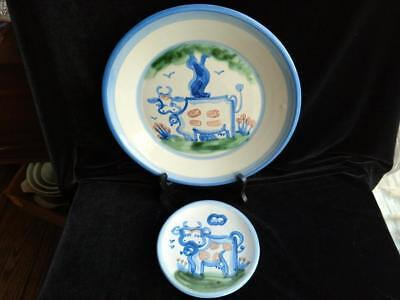 Lot 2 M.A. Hadley Hand Painted Country Cows Farm Animal Plates - 2 Sizes