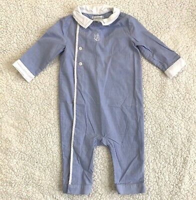 Ralph Lauren Baby Boy's 6M One Piece Long Sleeved Outfit Blue/White