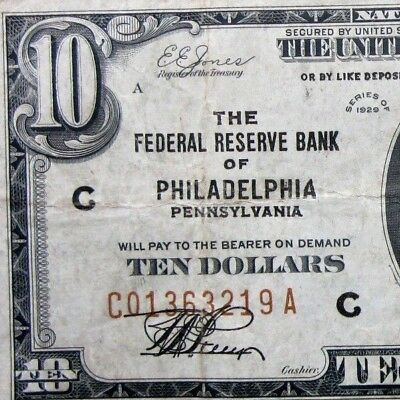 1929 $10 Federal Reserve National Bank Note ✪ Philadelphia ✪ Vf Pa 219 ◢Trusted◣