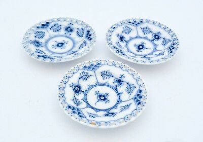 3 Small dishes #1004 - Blue Fluted - Royal Copenhagen - Full Lace - 2nd Quality