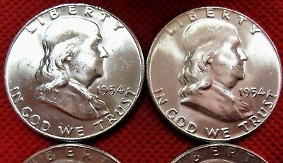 1954-P Franklin Silver Half Dollar--GEM-BU---Better Date---Blast White--1 Coin