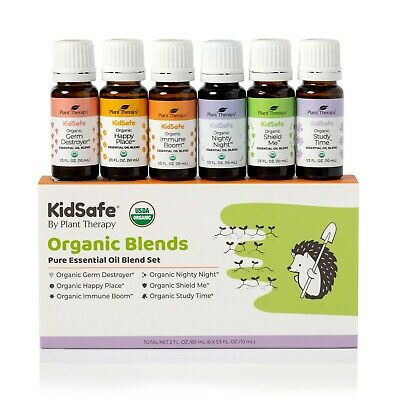 Plant Therapy Essential Oils KidSafe Organic Blends Set 10 mL (1/3 oz) 100% Pure
