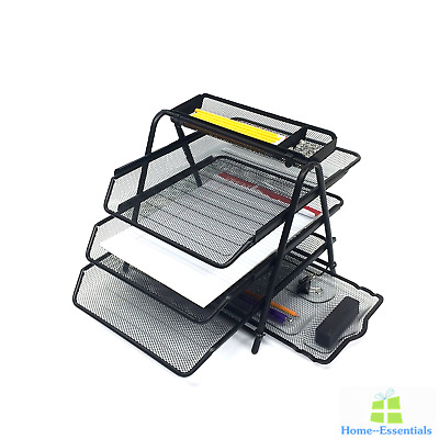 3 Tier Desktop Document Letter Tray Organizer With Pull Out Drawer Organizers