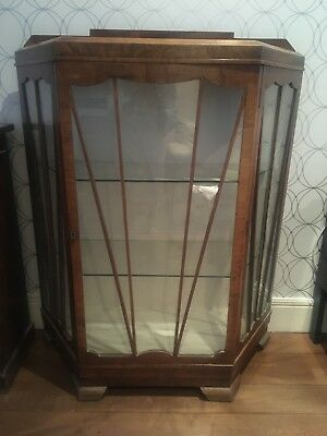 Vintage Art Deco antique Walnut Glass Display Cabinet 👀