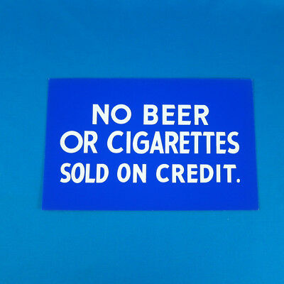 "VTG 50s ""NO BEER OR CIGARETTES SOLD..."" Sign Silkscreen store display grocery"
