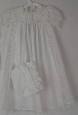 Alexis Baby Dress and Bonnet White Lace Embroidery Vintage vtg